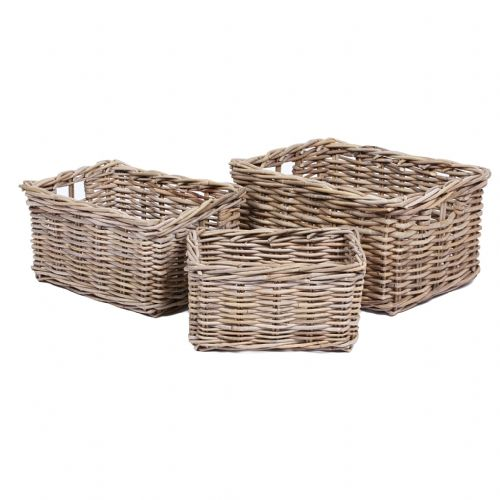 Set of 3 Rectangular Baskets with Ear Handles in Kooboo Grey
